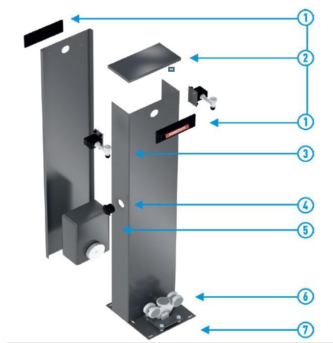 cтолб с интегрированный автоматикой для ворот